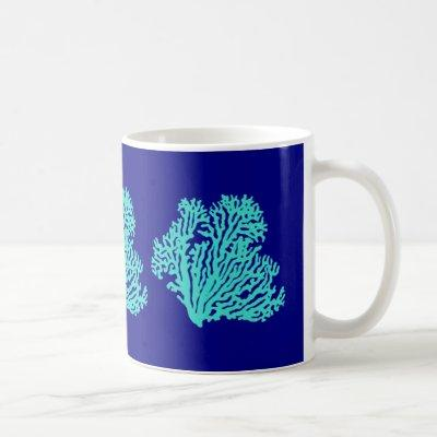 Turquoise Coral On Navy Blue Coastal Decor Coffee Mug