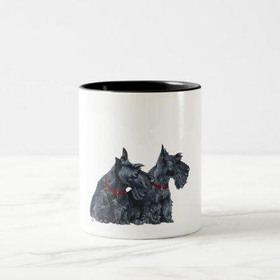 Two Curious Scottish Terriers Two-Tone Coffee Mug