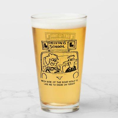 Two Funny Driving School Cartoons Glass