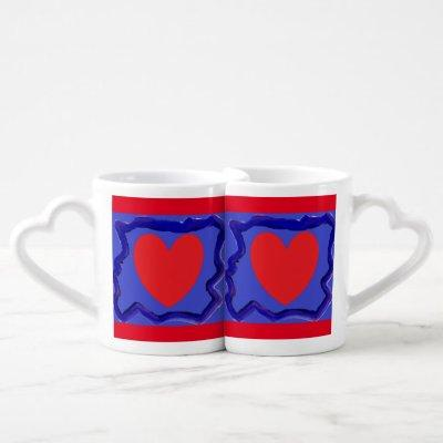 Two hearts on royal blue and bold red romance coffee mug set
