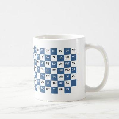 Two Letter Words  Blue and white Intrl. version Coffee Mug
