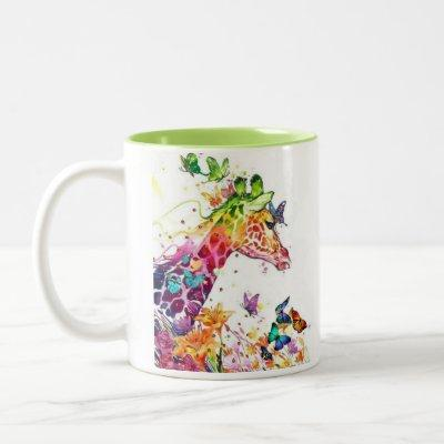 Two sided colorful giraffe with butterflies Two-Tone coffee mug