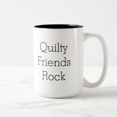 Two sided Quilty Friends Rock mug