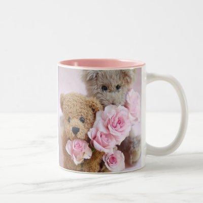two teddy bears holding roses coffee mug