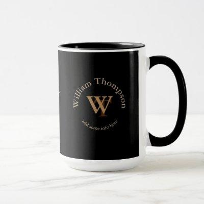 typography monogram - personalized logo black mug