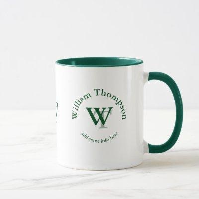 typography monogram - personalized logo green mug