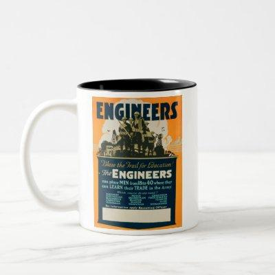 U.S. ARMY ENGINEERS RECRUITING POSTER WORLD WAR 1 Two-Tone COFFEE MUG