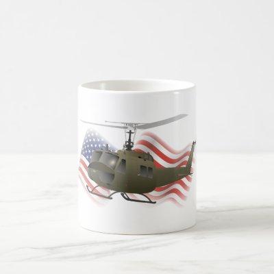 UH-1 Huey Helicopter with US Flag Coffee Mug