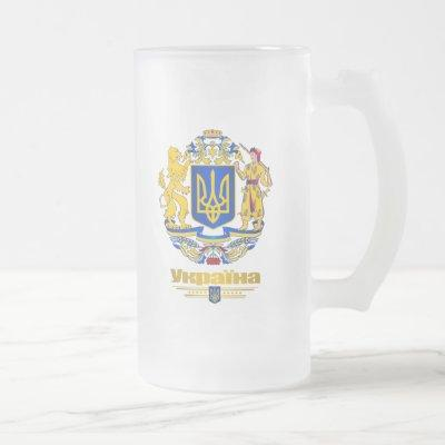 Ukraine Full Arms Frosted Glass Beer Mug