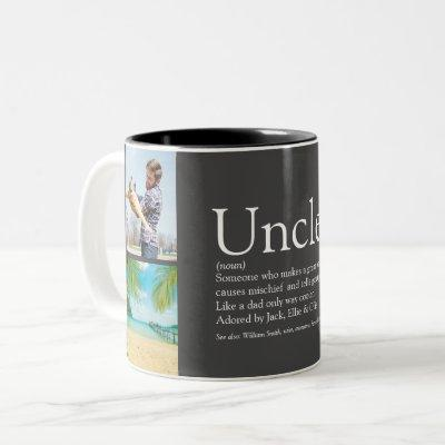 Uncle Funcle Definition 4 Photo Collage Gray Two-Tone Coffee Mug