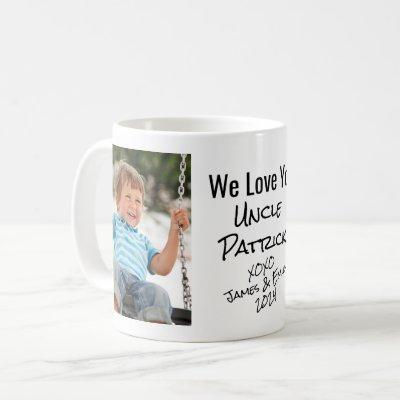 Uncle We Love You Personalized Photo & Names Coffee Mug