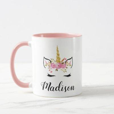 Unicorn Face With Eyelashes Personalized Name Mug