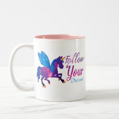 unicorn galaxy follow your dreams Two-Tone coffee mug