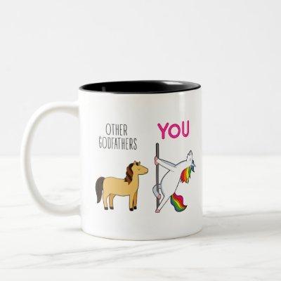 Unicorn Godfather Gift Two-Tone Coffee Mug