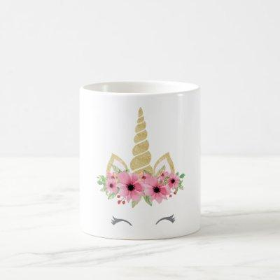 Unicorn Mug, Glitter Unicorn Mug, Floral Unicorn Coffee Mug