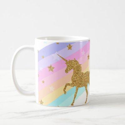 Unicorn Mug , Pink & Gold 11oz Classic Mug