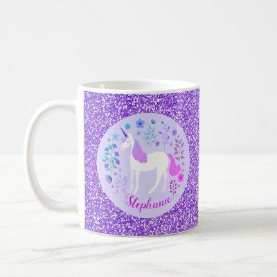 Unicorn Purple Glitter Personalized Name Coffee Mug