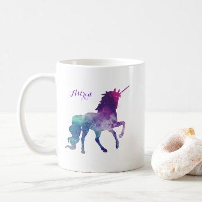 Unicorn Watercolor Silhouette Purple Name Coffee Mug