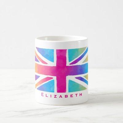 Union Jack Flag in Bright Watercolors Personalized Coffee Mug