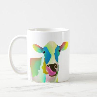 Unique colorful cow coffee mug
