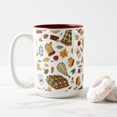 Unique Fall Leaves Autumn Pumpkins Two-Tone Coffee Mug