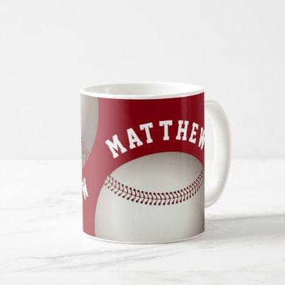 Unique Red Baseball With Personalized Name Coffee Mug