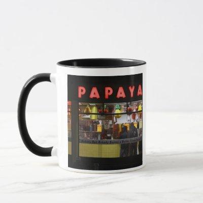 United States, New York. Gray's Papaya: window Mug
