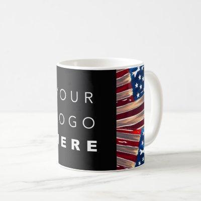 US Flag American Blue White Red Custom Logo Coffee Mug