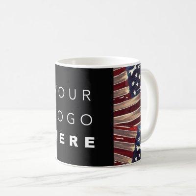 US Flag American Blue White Red Gold Logo Coffee Mug