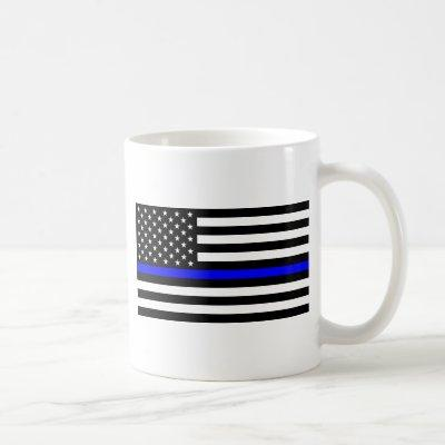 - US Flag Police Thin Blue Line Coffee Mug