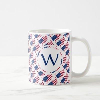 USA Patriotic Custom Monogram GOD BLESS AMERICA Coffee Mug
