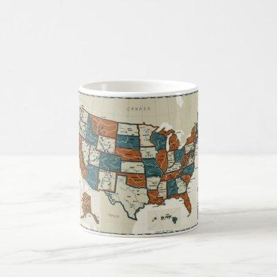 USA - Vintage Map Coffee Mug