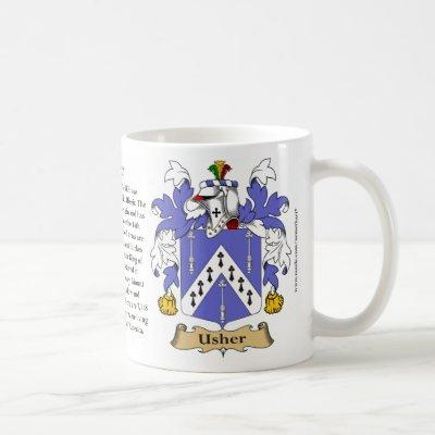 Usher, the Origin, the Meaning and the Crest Coffee Mug
