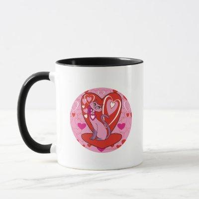 Valentine Kitty with Hearts Mug