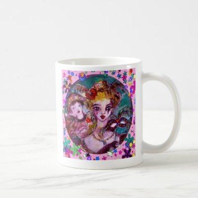 VALENTINE VENETIAN MASQUERADE MASKS AND  CONFETTI COFFEE MUG