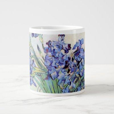 Van Gogh Vase with Irises, Vintage Floral Fine Art Large Coffee Mug