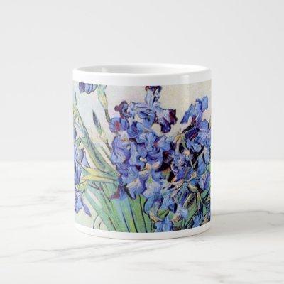 Van Gogh Vase with Irises, Vintage Floral Fine Art Large Coffee Mug