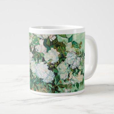 Van Gogh Vase with Pink Roses Flowers Painting Giant Coffee Mug