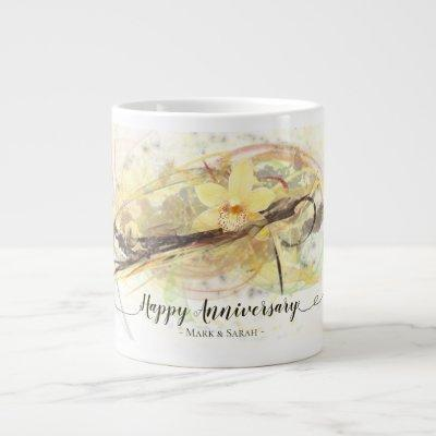 Vanilla Orchid Flower Abstract Art Calligraphy Large Coffee Mug