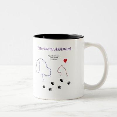 Veterinary Assistant-Paw Prints on My Heart Two-Tone Coffee Mug