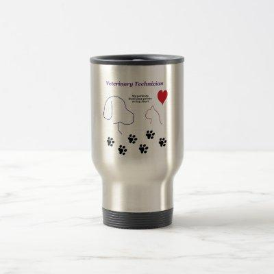 Veterinary Technician - Paw Prints on My Heart Travel Mug