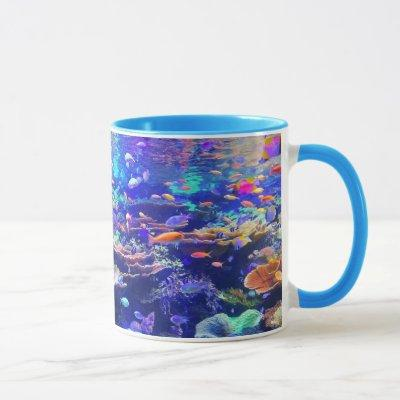 Vibrant Colorful Tropical Fish Aquarium Mug