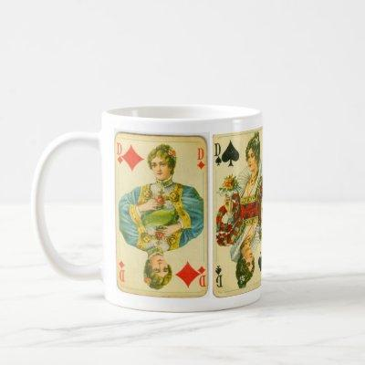 Victorian queens of cards coffee mug