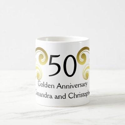 Victorian swirls golden wedding anniversary coffee mug