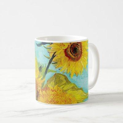 Vincent Van Gogh Three Sunflowers In a Vase Art Coffee Mug