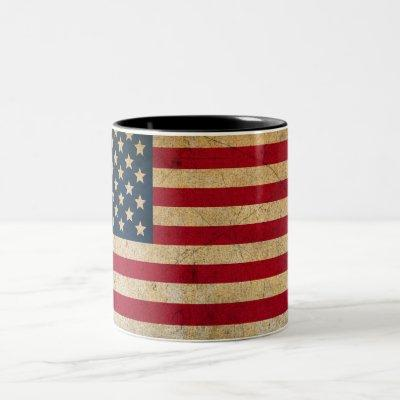 Vintage American Flag Two-Tone Coffee Mug