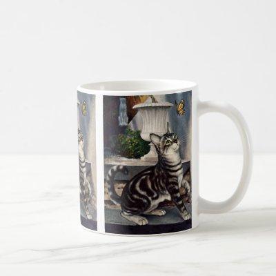 Vintage Animals, Cute Tabby Cat snd Butterfly Coffee Mug