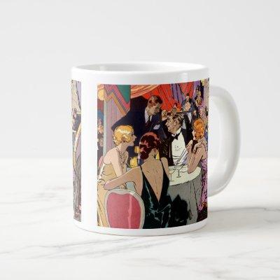 Vintage Art Deco Cocktail Party at Nightclub Giant Coffee Mug