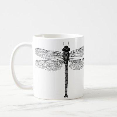 Vintage Black and White Dragonfly Illustration Coffee Mug