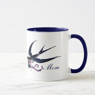 Vintage Blue Swallow Bird Mom Mug